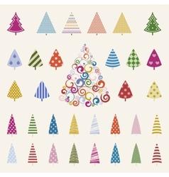 Decoration pine trees celebration set vector image
