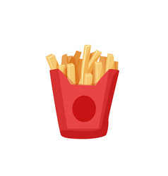 Delicious french fries in a red paper box isolated vector