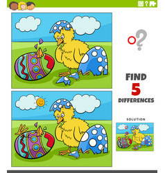 Differences educational game for kids with easter vector