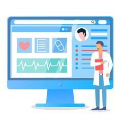 doctor with folder standing near computer screen vector image