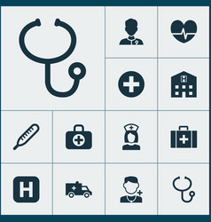 Drug icons set with doctor case medic and other vector