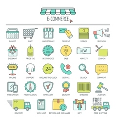 E-commerce icon set Color modern line icons for vector image