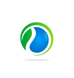 ecology bio water green leaf logo vector image
