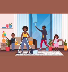 Family doing housework african american father vector