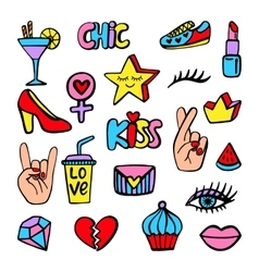 Fashion patch badges set vector