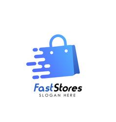 fast stores logo design template shopping bag vector image