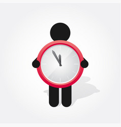 figure man holds simple red clock vector image