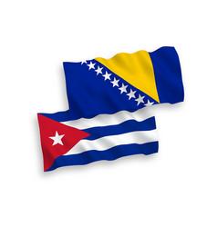 Flags of bosnia and herzegovina and cuba vector