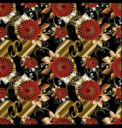floral paisley seamless pattern black vector image