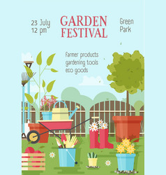 Flyer or poster template with gardening or vector