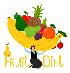 fruit diet composition girl holding vector image