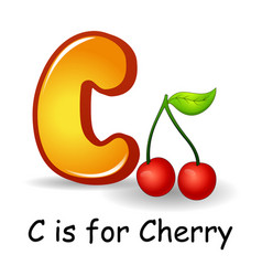 fruits alphabet c is for cherry fruits vector image