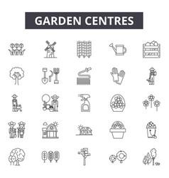 garden centres line icons signs set vector image