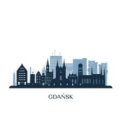 gdansk skyline monochrome silhouette vector image