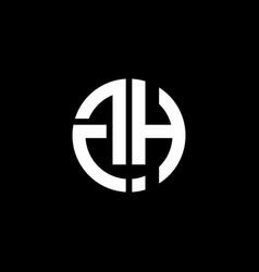 gh monogram logo circle ribbon style design vector image