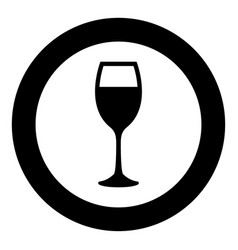 glass of wine icon black color in circle vector image
