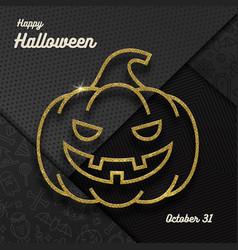 Glitter gold contour a jack-o-lantern pumpkin and vector
