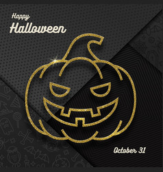 glitter gold contour a jack-o-lantern pumpkin vector image