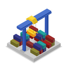 global shipping icon with crane isometric 3d icon vector image