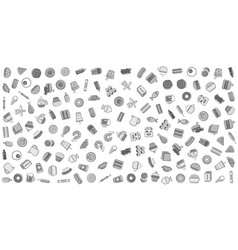 Grayscale set fast food or street food related vector