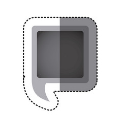 grayscale sticker of square speech with tail vector image