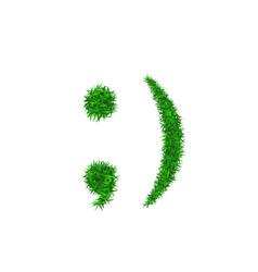 Green grass face wink smile smiley grassy vector