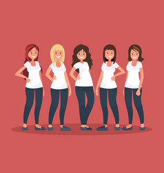 group of happy women vector image