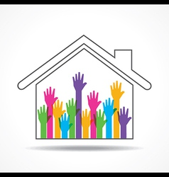 Group of up hands in the home vector