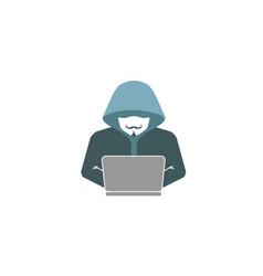 Hacker hidden face logo vector