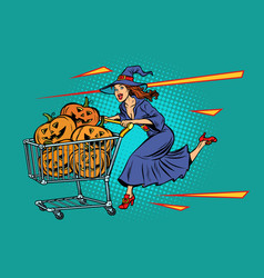 halloween witch pumpkins shopping cart trolley vector image