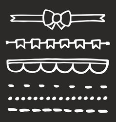 hand drawn set isolated on black vector image