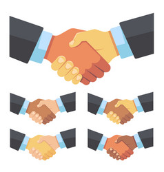 Handshake of businessmen of different races vector