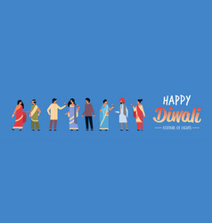Happy diwali indian people group wearing national vector