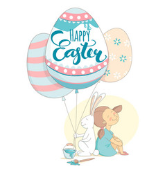 Happy easter greeting card girl rabbit flying vector