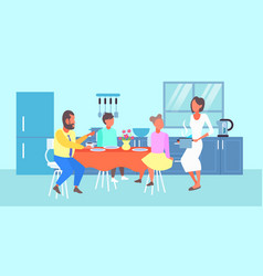 happy family having breakfast housewife serving vector image