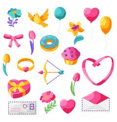 happy valentine day set vector image