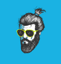Head of modern hipster vector