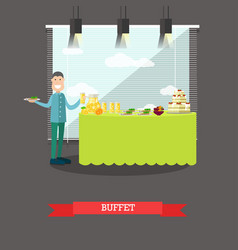 Hotel buffet in flat style vector