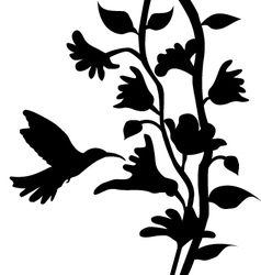 Hummingbird and flowers silhouette vector