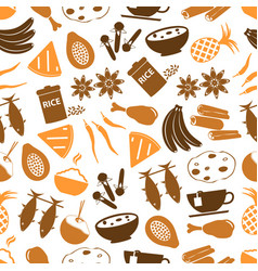 Indian food theme set of simple icons seamless vector