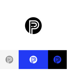 Ip monogram in circle logo letters i and p vector