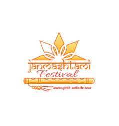 Janmashtami festival logo concept design vector
