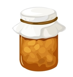 Jar homemade jam or marmalade dessert vector