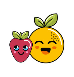 Kawaii happy orange and strawberry icon vector