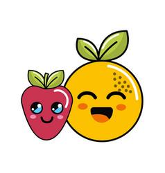 kawaii happy orange and strawberry icon vector image