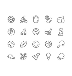 Line sport equipment icons vector
