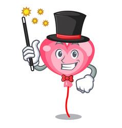 magician ballon heart mascot cartoon vector image