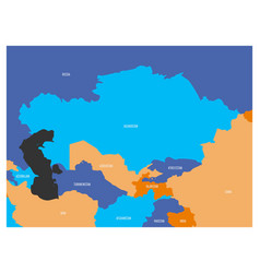 map of central asia region with flat map in four vector image