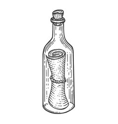 message in bottle sketch engraving vector image