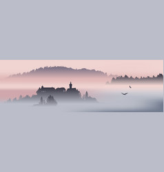 mountain view with flying birds vector image